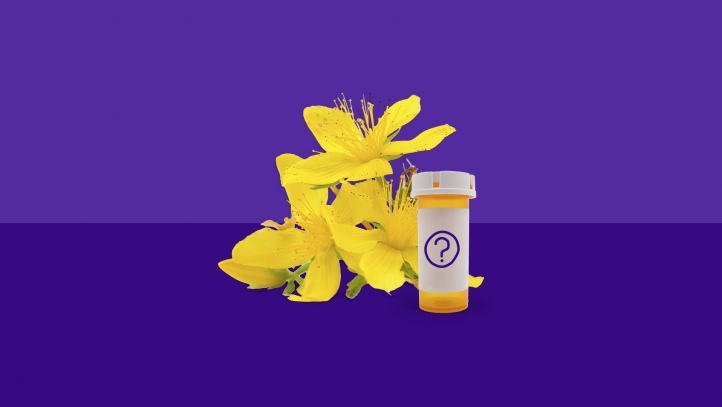 The flowers that St. John's wort comes from, and a prescription bottle