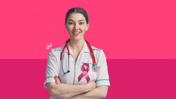A doctor with a ribbon represents cancer screening for women