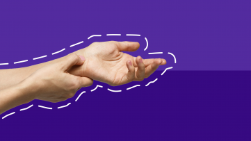 Two hands represent chronic pain management