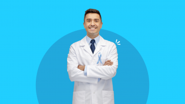 A doctor represents cancer screening for men