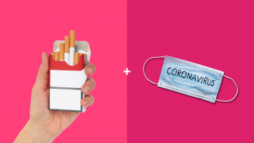 Cigarettes and a mask that says coronavirus