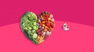 A heart made of vegetables represents nutrient deficiency