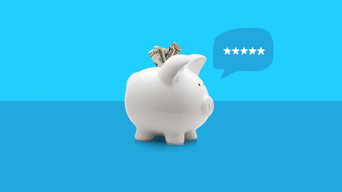 A piggy bank with a conversation bubble represents SingleCare reviews