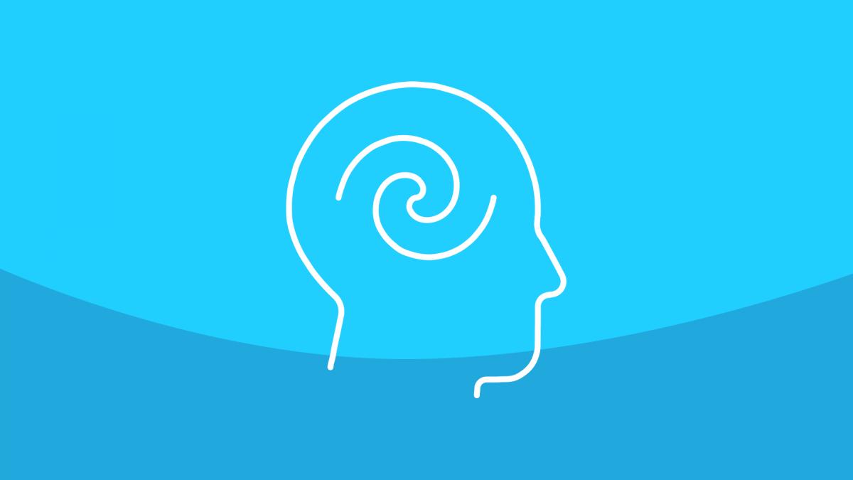 A head with a spiral in it represents living with vertigo