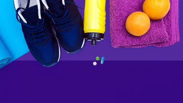 yoga mat, tennis shoes, apple - Taking medications is self-care