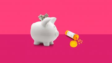 A piggy bank represents saving money on prescriptions