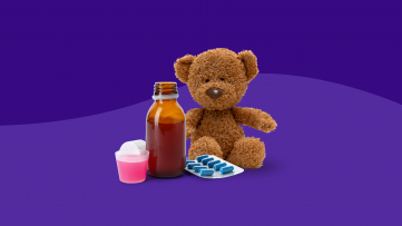 A teddy bear with children pain relievers