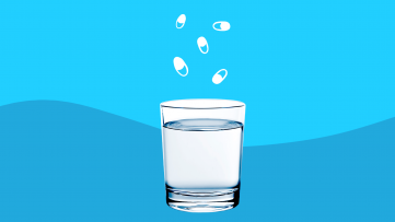 Glass of water and pill illustrations: List of medications that cause dry mouth